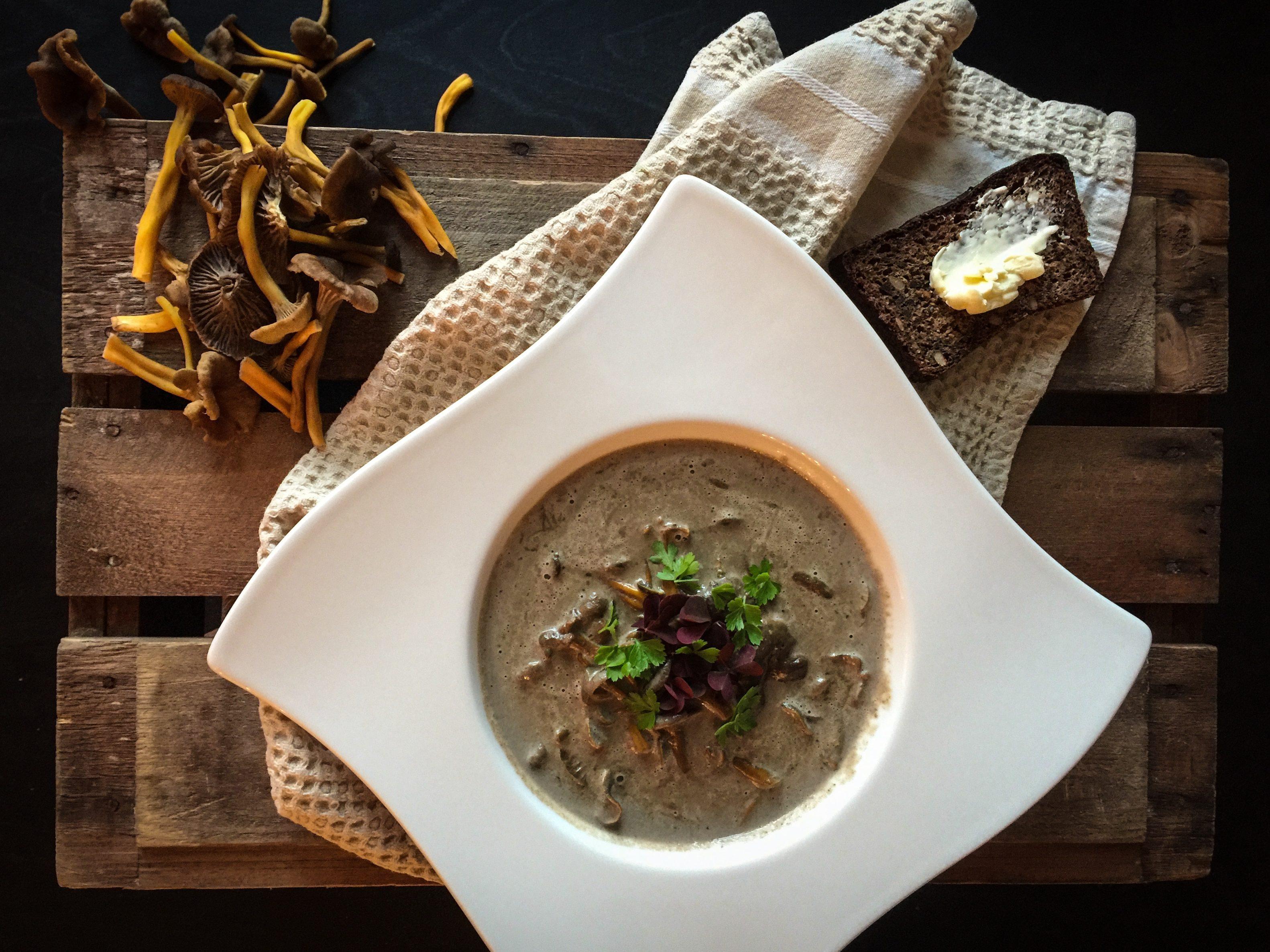 Täyteläinen keitto torvisienistä ja suppilovahveroista